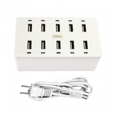 50W 10-Port USB AC 100-240V 10A USB Smart Charging Power Strip - US Plug