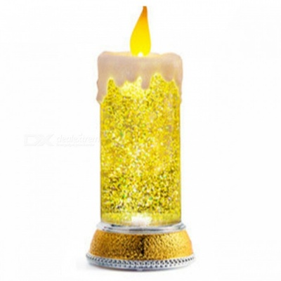 P-TOP RGB Warm White LED Birthday Candle Light, Christmas Night Light for Home Furnishings European Atmosphere Decoration - Gold