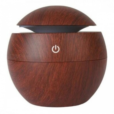 P-TOP USB Air Aroma Essential Oil Diffuser, Ultrasonic Mist Humidifier w/ 7-Color Changing LED Night Light - Dark Brown
