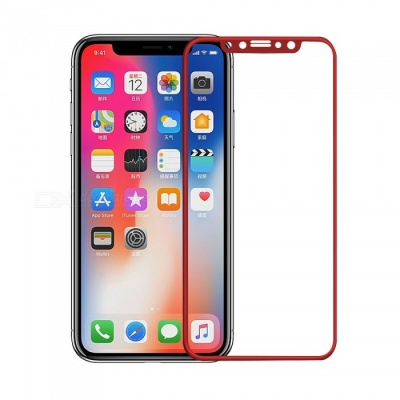 Mini Smile 0.2mm 9H Hardness 2.5D Full Coverage Tempered Glass Protector for IPHONE X - Red