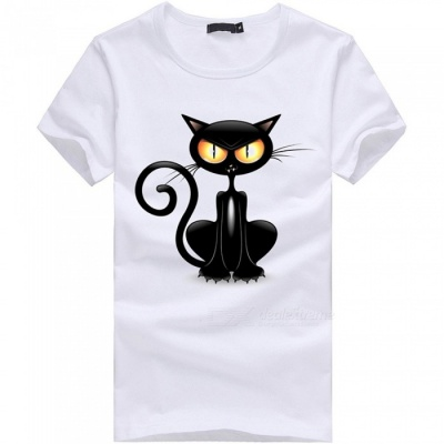 3D Crouching Cat Pattern Fashion Personality Casual Cotton Short-Sleeved Men's T-shirt - White (XL)
