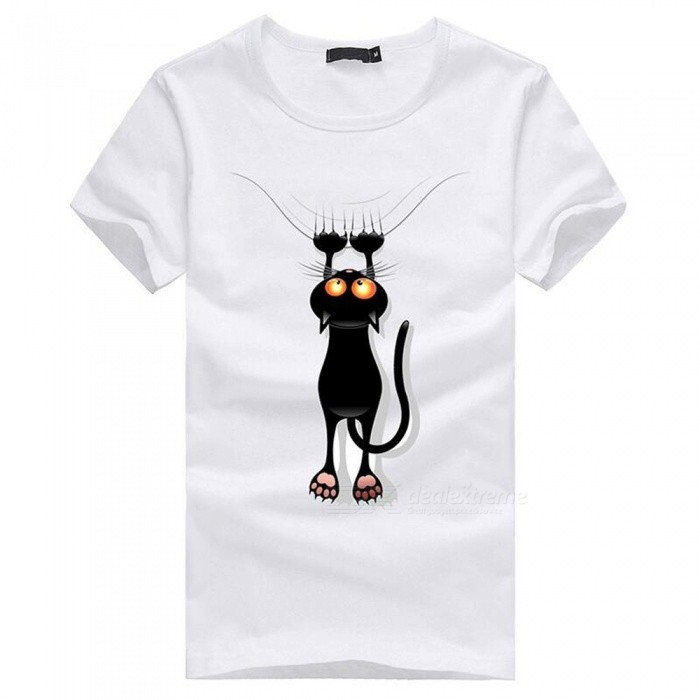 3D Paw Cat Pattern Fashion Personality Casual Cotton Short-Sleeved Men's T-shirt - White (XL)
