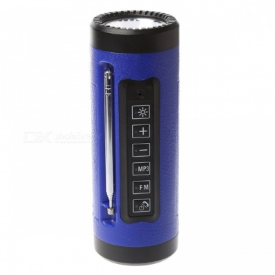 P-TOP 3W 5V Bluetooth Speaker LED Flashlight with Microphone, FM Radio, Power Bank, Built-in TF Card Slot - Blue