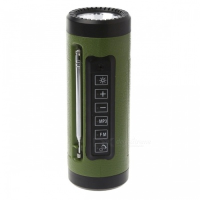 P-TOP3W 5V Bluetooth Speaker LED Flashlight with Microphone, FM Radio, Power Bank, Built-in TF Card Slot - Green