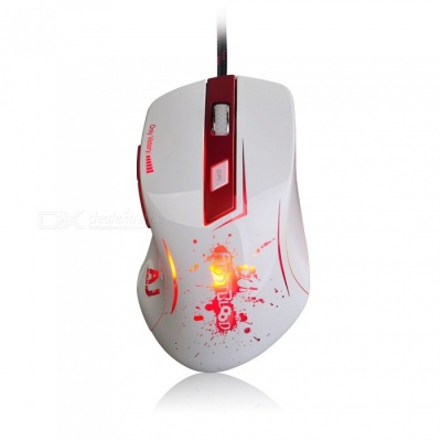 Ajazz AJ100 First Blood Edition Wired Game Mouse for Home Office - White + Red