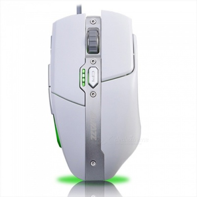 Ajazz AJ330 Professional Metal USB Wired Game Mouse 4 Color Breathing Light for Home Office - White
