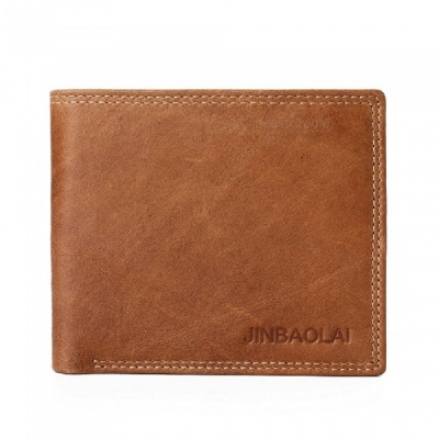 JIN BAO LAI Men's Stylish Folding Leather Wallet with Multiple Slots - Coffee