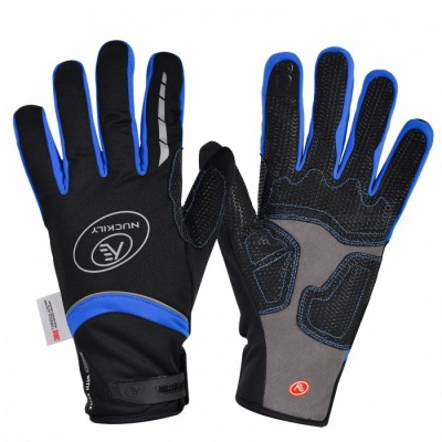 NUCKILY PD07 Unisex Winter Full Finger Cycling Touch Screen Gloves Warm Thickened Windproof Outdoor Sports Gloves - Blue (L)