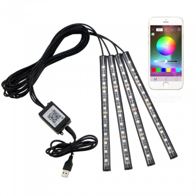 Portable 7-Color RGB 12SMD LED Sound Controlled USB Car Atmosphere Music Light, Supports APP Software Control