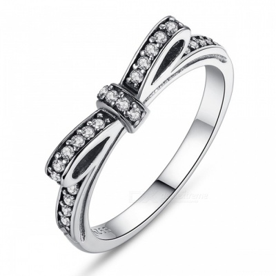 PA7104 Premium 100% 925 Sterling Silver Sparkling Bow Knot Stackable Finger Ring for Women Lady Girls PA7104/9