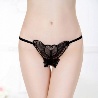 ZJ002012 Sexy Translucent Lace T-back Underwear for Women - Black
