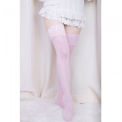 Fanshimite Sexy Lace Translucent Thin Stockings for Women - Pink