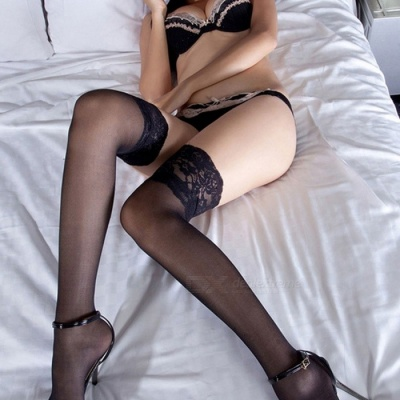 Fanshimite Sexy Lace Translucent Thin Stockings for Women - Black