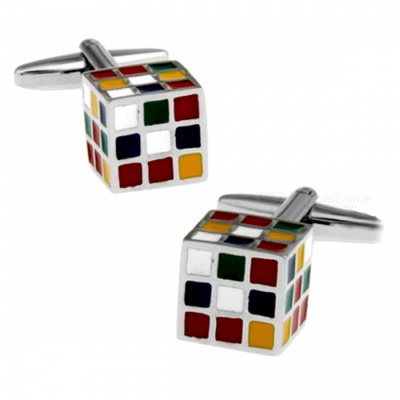 Alloy Rubik Shape Men's Cufflinks - Silver + Multicolor (1 Pair)