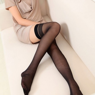 Fanshimite Sexy Translucent Thin Stockings for Women - Black