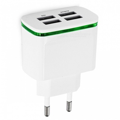 5V 4A 4-Port USB Charging Charger Power Adapter for IPHONE X/7/8 - White (EU Plug)
