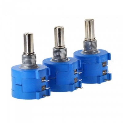 ZHAOYAO 3590S-2-502L 5K Ohm Potentiometer with 10 Turns Counting Dial Rotary Knob - Blue (3 PCS)