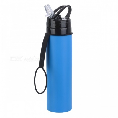 CTSmart Outdoor Silicone Water Bottle Mountaineering Fishing Portable 600ML High Capacity Folding Kettle - Dark Blue