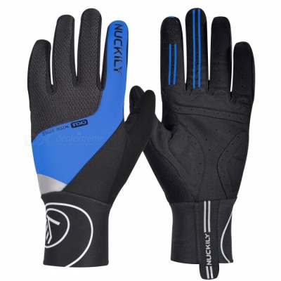NUCKILY PD05 Winter Unisex Shockproof Touch Screen Long Full Finger Gloves for Outdoor Sport Bicycle Cycling Riding - Blue (L)