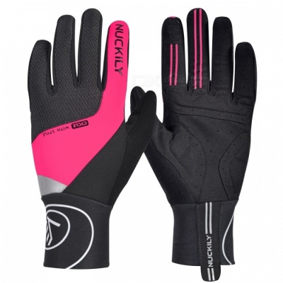 NUCKILY PD05 Winter Unisex Shockproof Touch Screen Full Finger Gloves for Outdoor Sport Bicycle Cycling Riding - Deep Pink (XL)