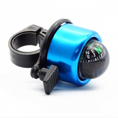 Mini Aluminium Alloy Bicycle Bell with Compass - Blue