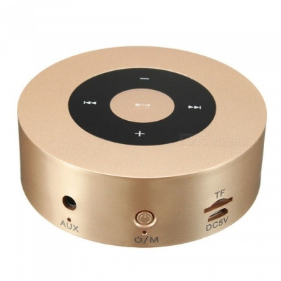 ZHAOYAO Portable 3D Sound Touch Wireless Bluetooth Speaker Subwoofer with Mic, TF Card Slot - Golden