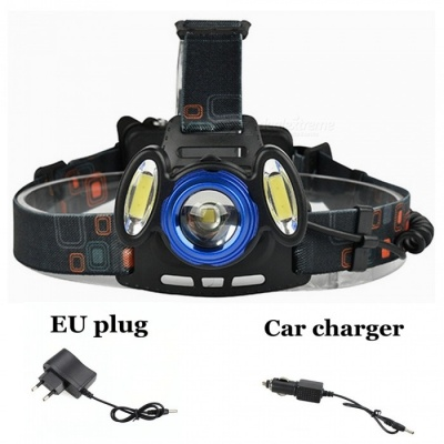 ZHAOYAO XM-L T6 COB Waterproof 3-LED 3-Mode Zooming Rechargeable Headlight with EU Charger + Car Charger