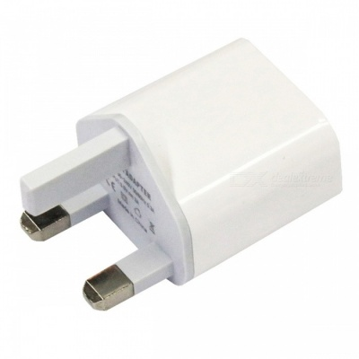 Portable 2A Dual USB Charging Head Power Adapter - White (UK Plug / AC100-240V)