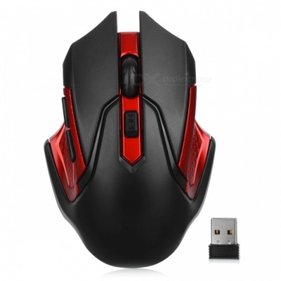Mini 2.4G Wireless Optical Mouse Mice for Notebook Laptop Desktop Computer - Red + Black