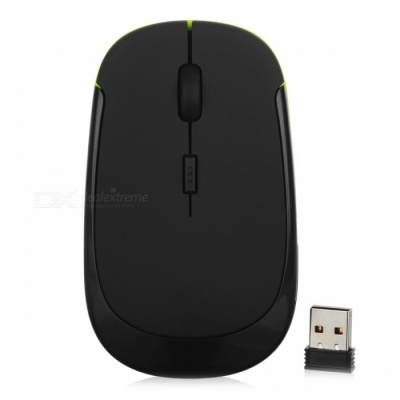 Mini Ultra Thin USB Wireless 2.4G Optical Mouse Mice for Laptop PC - Black