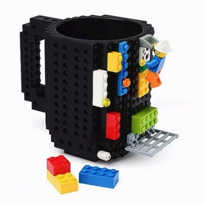 1Pc Build a Brick 12oz 350ML Frozen Coffee Mug, DIY Building Blocks Puzzle Lego Coffee Cup for Christmas Gift - Black