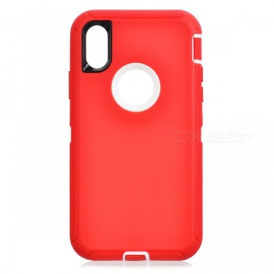Heavy Duty Kickstand Belt Clip Protective PC + TPU Back Cover Case for IPHONE X - Red