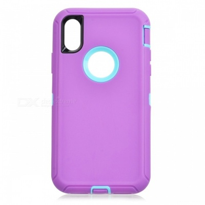 Heavy Duty Kickstand Belt Clip Protective PC + TPU Back Cover Case for IPHONE X - Purple