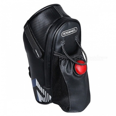 ROSWHEEL Le Xuan Hyun 131396 Bicycle Bike Bag with Waterproof Safety Warning Light and Water Bottle Holder - Black + Red