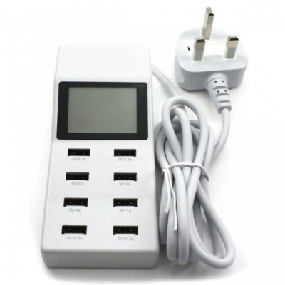 P-TOP 8-Port USB Travel Charger, Smart Charging Station w/ LCD Digital Display  - UK Plug