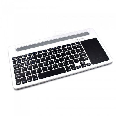 Universal Ultra Mute Bluetooth V3.0 Keyboard with Slot for Mobile Smartphone, Tablet - White