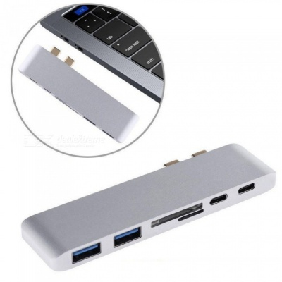 Dual Type-C to HDM Hub w/ Card Reader, PD Charging Port, 4K HD Macbook Converter - Silver