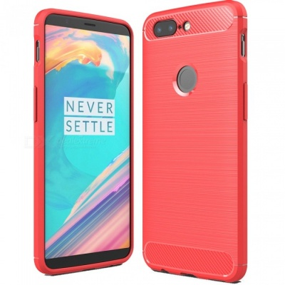ASLING Protective Carbon Fiber TPU Soft Cover Case for OnePlus 5T - Red