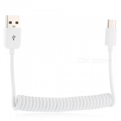 USB 2.0 to Type-C Spring Type Charging Data Cable - White (100cm)