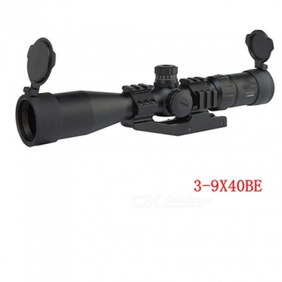 3-9x40BE Compact Rifle Scope Mil Dot Reticle Riflescope Sight Three Color Illuminated Sight Waterproof Scope for Hunting