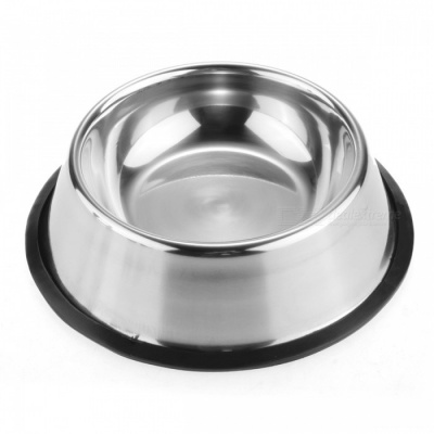 Qook 18cm Dia Thickened Stainless Steel Dog Bowl w/ Non-Slip Bottom - Silver