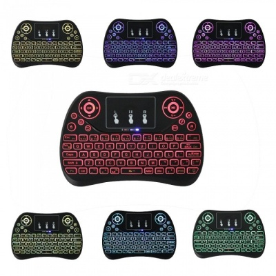 T2 Mini Remote Control Mouse Wireless Keyboard with 7-Color Backlight for Mini PC Mac Linux