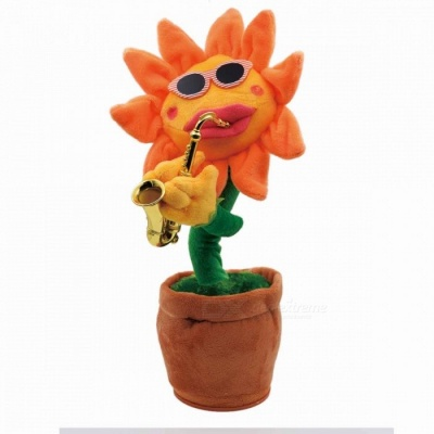 Dancing Sunflowers Shape Doll Toy w/ Pointed Edge for Home Decoration - Orange + Red