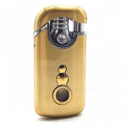 Innovative Windproof Double Flame Gas Inflatable Cigarette Lighter - Golden