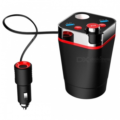 A28 Cup Shaped Multifunctional Car Bluetooth Kit w/ USB Rechargeable Hands-free FM Transmitter, MP3 Player - Red