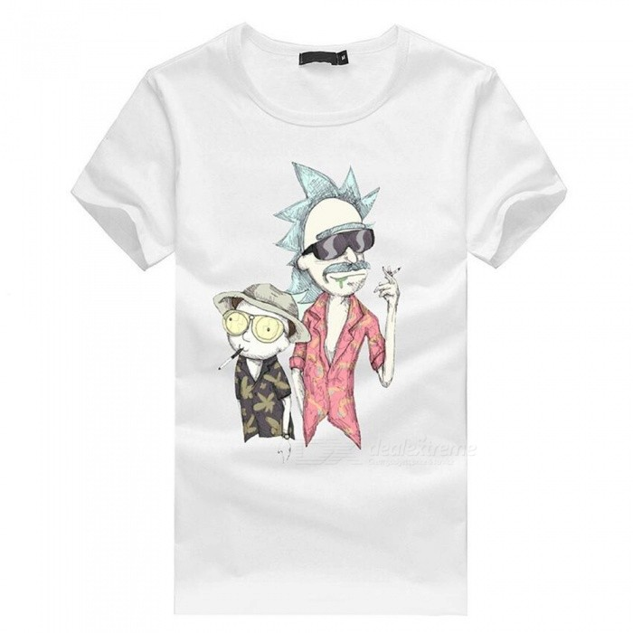 3D Cartoon Character Pattern Fashion Personality Casual Cotton Short-Sleeved T-shirt for Men - White (L)