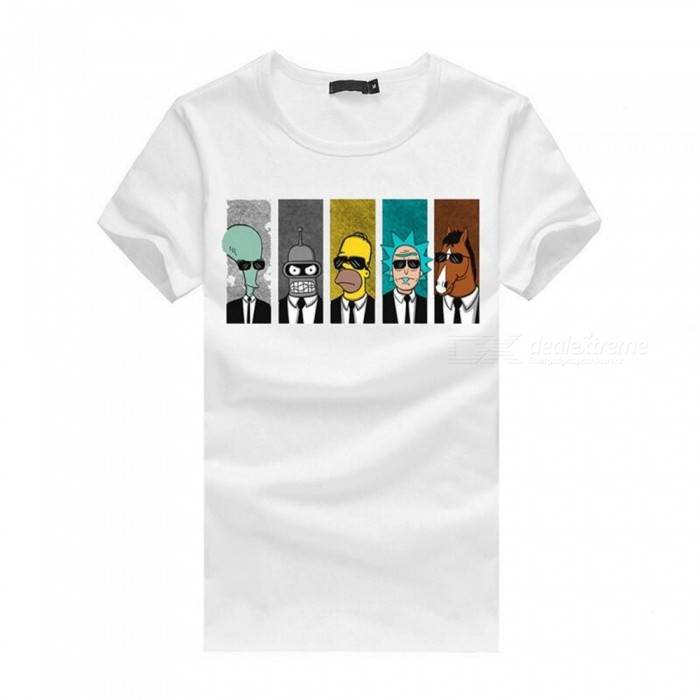 3D Cartoon Character Pattern Fashion Personality Casual Cotton Short-Sleeved T-shirt for Men - White (M)