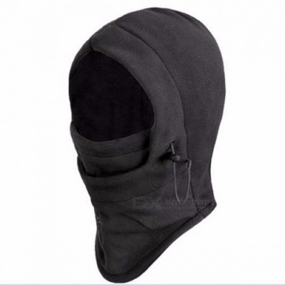 Men's Thermal Fleece Balaclava Hat Hooded Neck Warmer Winter Sports Face Mask Ski Bike Motorcycle Helmet Beanies Masked Cap Black