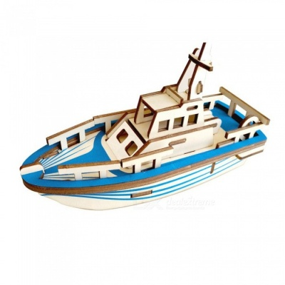 DIY 3D Wooden Lifeboat Style Puzzle Educational Toy