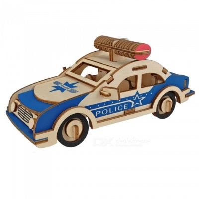DIY 3D Wooden Police Car Style Puzzle Educational Toy